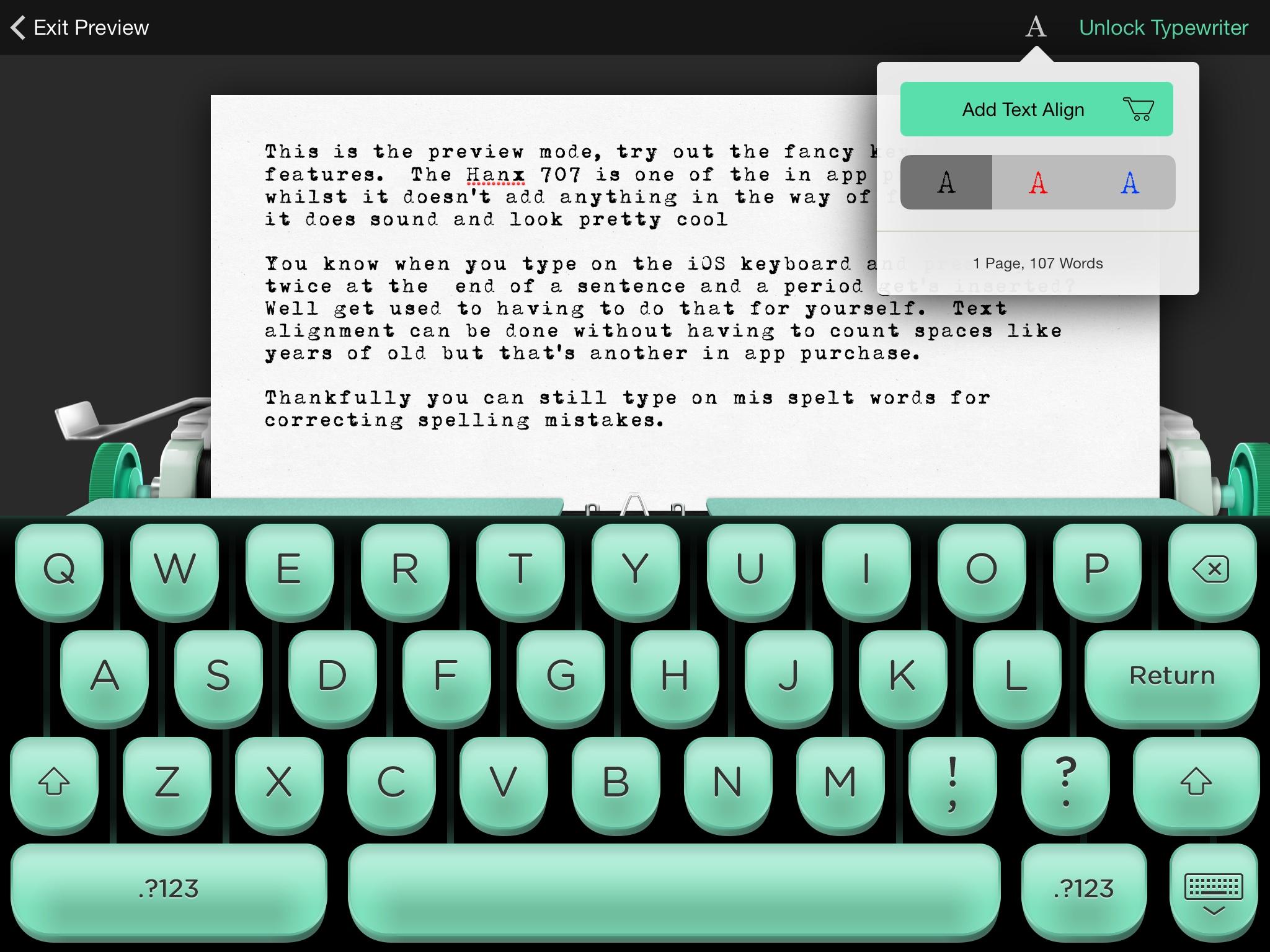 Hanx In App Purchase Typewriter