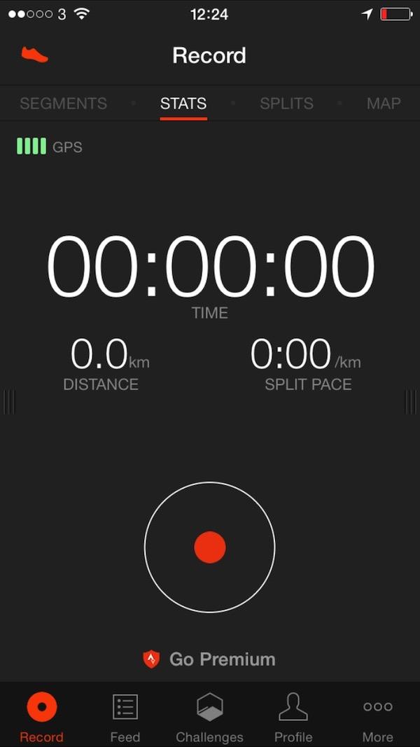 Strava Run App Main Screen