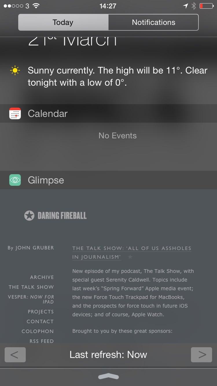 Glimpse Notification Area Website