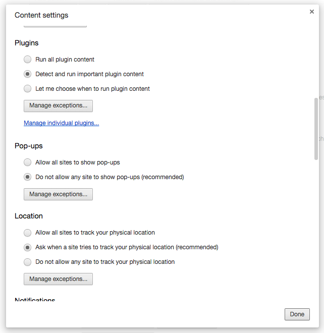 Chrome Content Settings Plugins