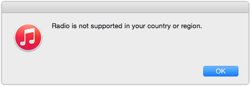 iTunes 12.2 Radio Is not Supported In Country Or Region