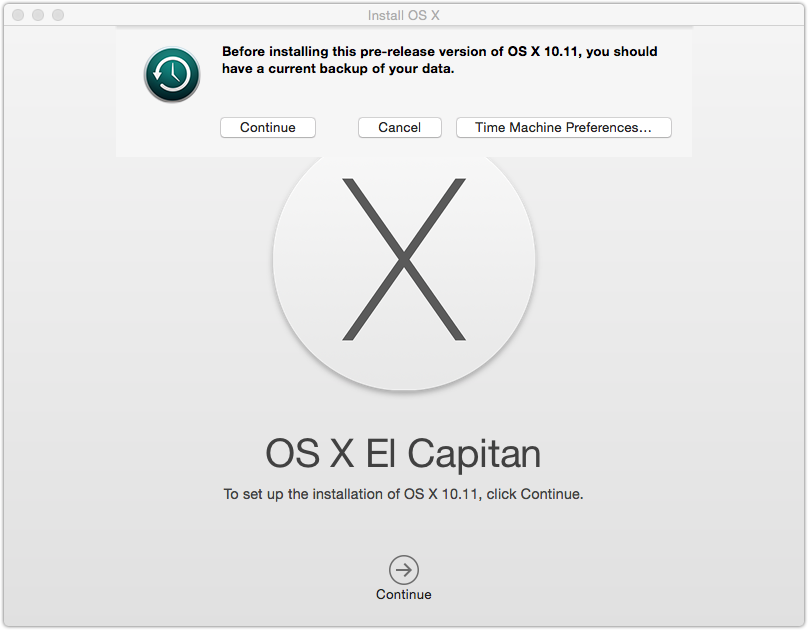 OSX El Capitan Time Machine Warning
