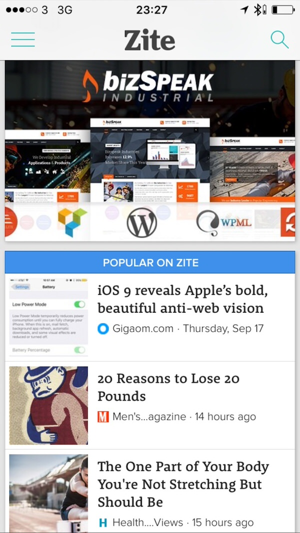 Zite News Curation list