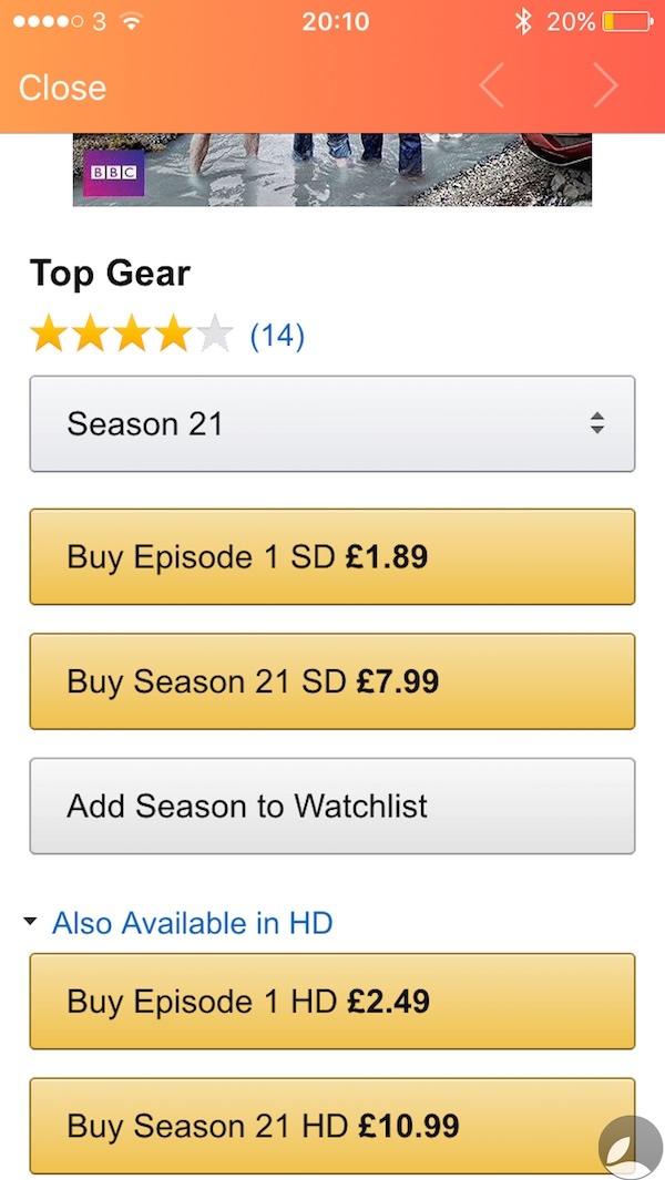 Utelly Top Gear Season 21 Amazon pricing.