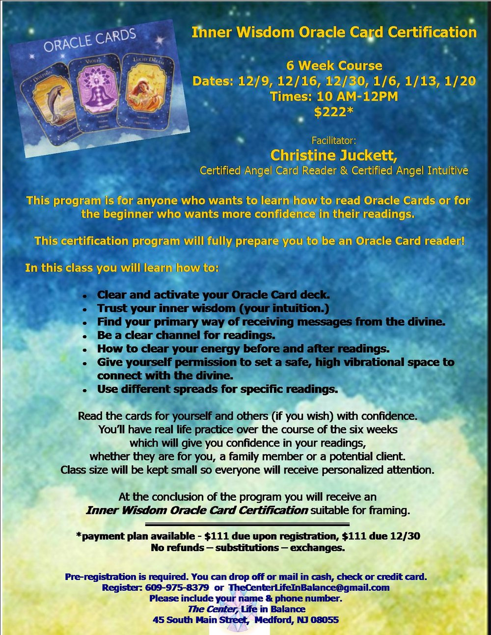 Inner Wisdom Oracle Card Certification Lady Of Sanctuary