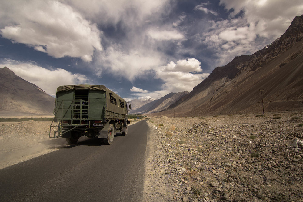 Army supplies going toward the Pakistan border.