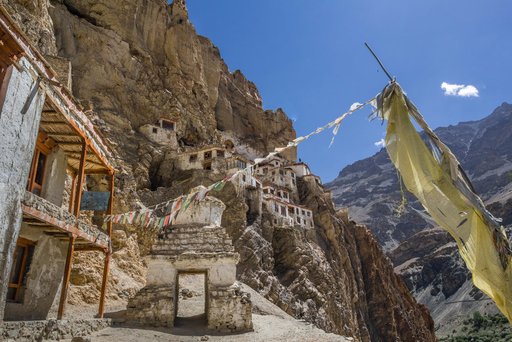 The Lungnak valley is the most remote region of Ladakh, including the Phugtal Gompa (monastery), which is the only monastery that is truly isolated and requires a long trek through difficult terrain.