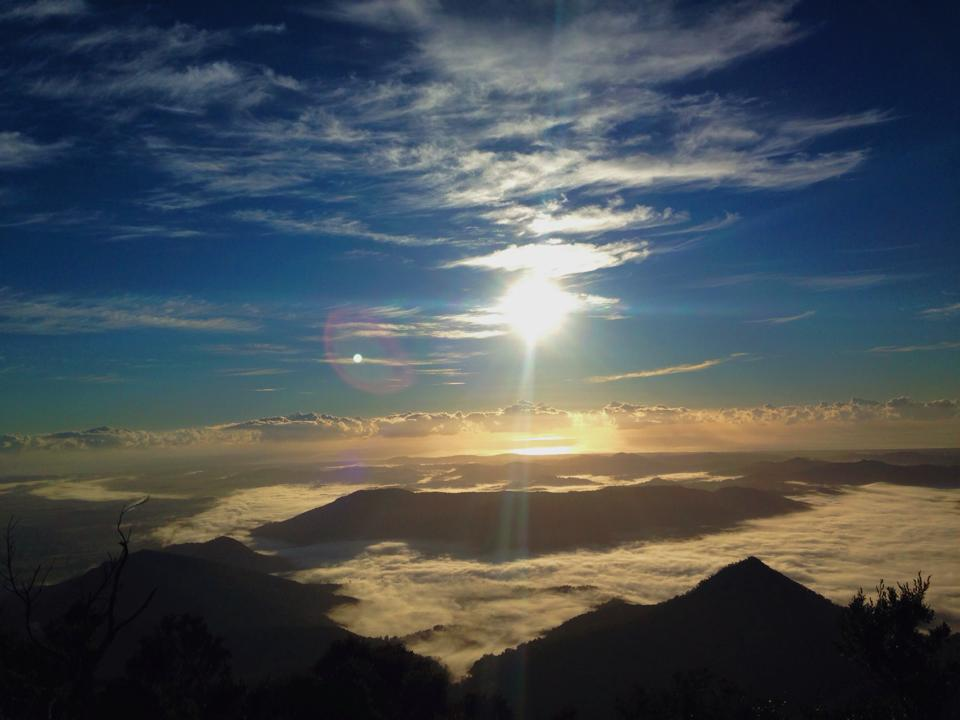 Mount Warning - the first place to see the sun rise in Australia. A race to the top.