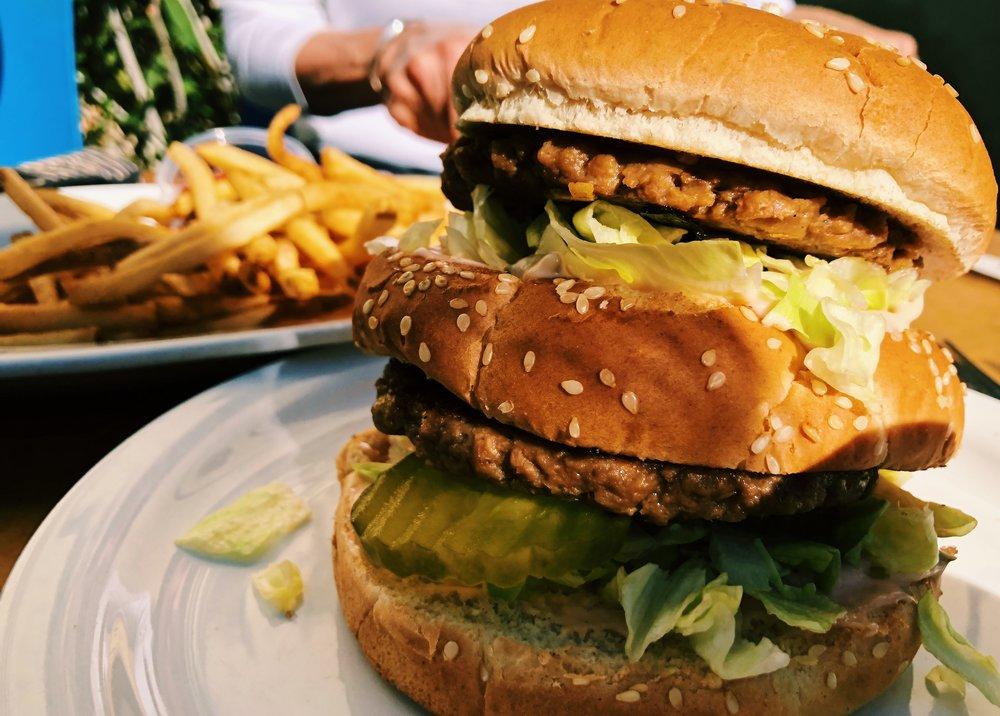 Post-race vegan big mac from Green Vegetarian...heaven