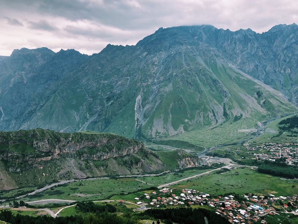 View of Kazbegi from above