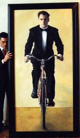 "Red Bicycle, Oil on Canvas, 87""x46"", 2010"