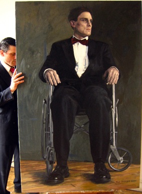 "Wheelchair Man II, Oil on Canvas, 68""X50"", 2009"