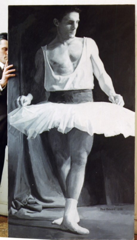 "Tutu Man, Oil on Canvas, 87""x 46"", 2010"