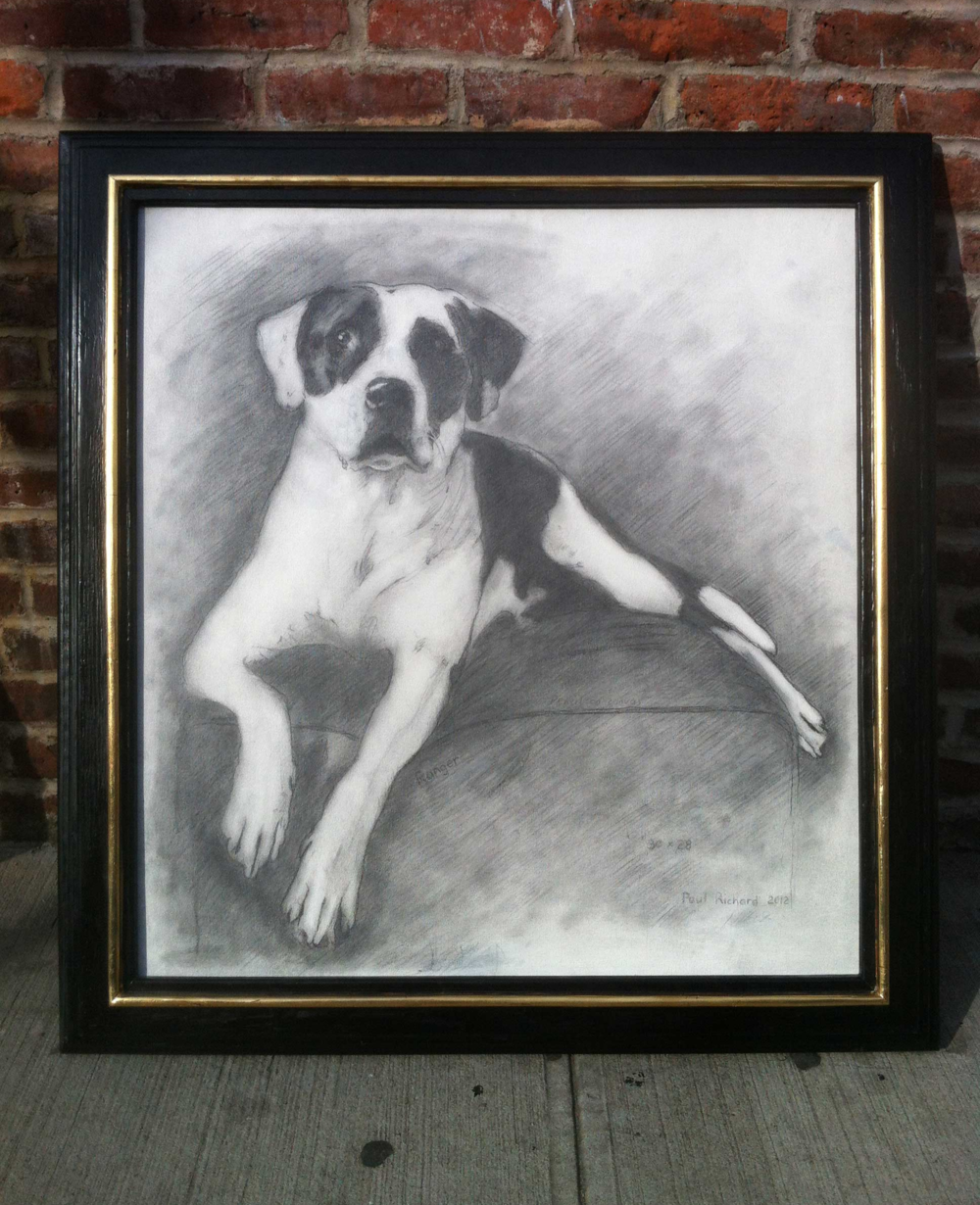 "Ranger, Pencil & Liquin on Canvas, 30"" x 28"", 2012"