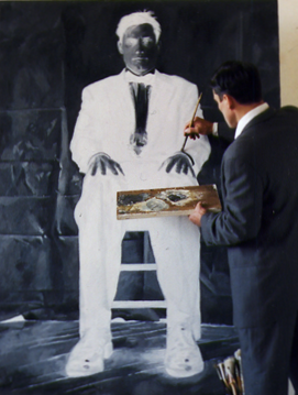 "Negative Man Sitting, Oil on Canvas, 70""x 50"", 2007"