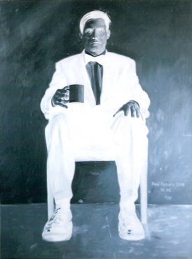 "Negative Man Seated, Oil on Canvas, 70""x 52"", 2006"