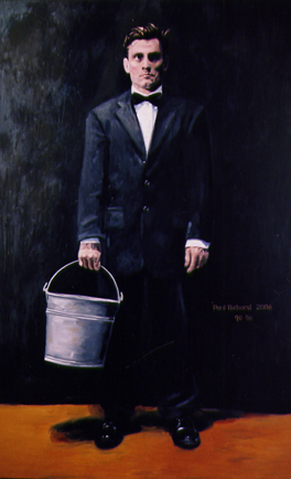 "Bucket Man, Oil on Canvas, 90""x 56"", 2007"