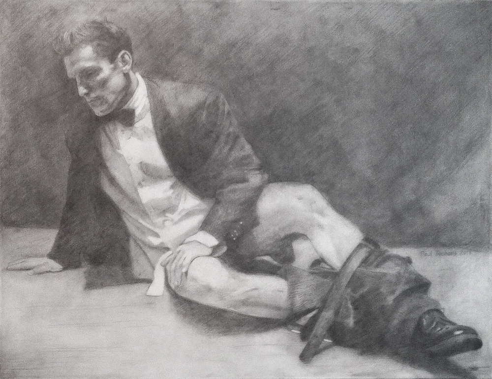 "The Dying Gaul, Pencil & Liquin on Canvas, 46.5""x 60"", 2013"