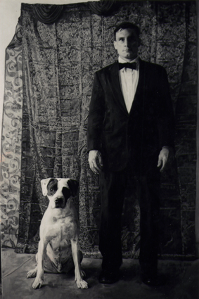 "Paul & Ranger B&W, Oil on Canvas, 84""x 56"", 2008"