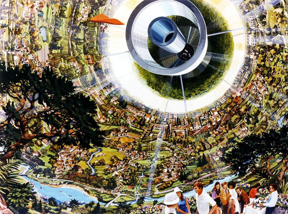 """The interior of a """"Bernal sphere,"""" one of many space colony concepts introduced during the NASA Space Settlement research workshops. Photo: Wikipedia"""