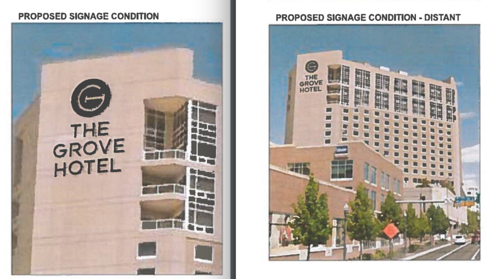 Proposed new tower signs would be visible from long distances