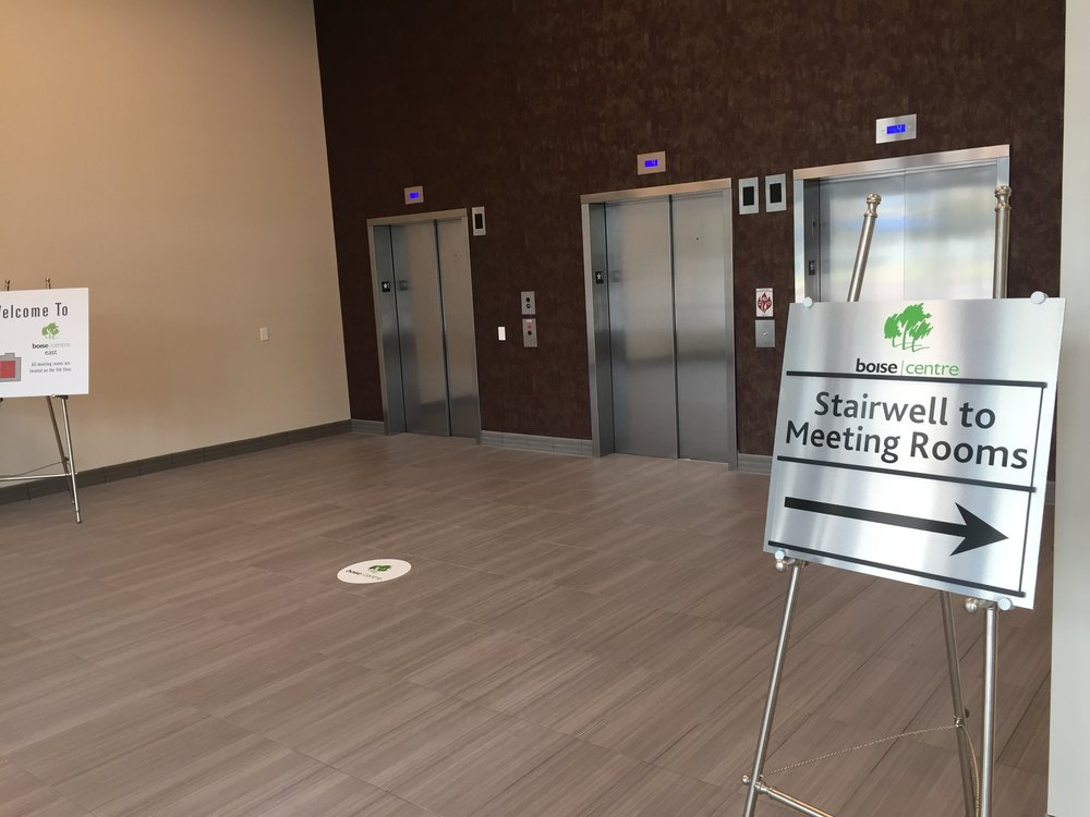 The first floor lobby off The Grove - with elevators and stairwell access to the 4th floor.