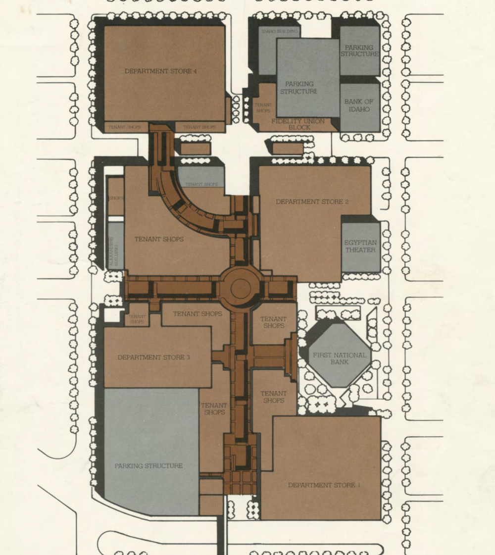 A 1981 plan for Boise City Center shows a mall taking over the area along 8th Street in Downtown Boise.