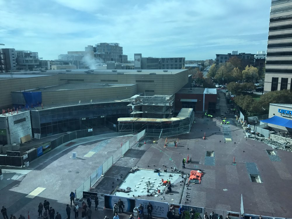 Construction on the original Boise Centre as seen through the windows of the new Boise Centre East building earlier this month