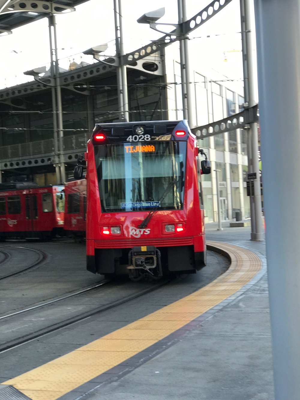 A streetcar bound for Tijuana pulls into a station in San Diego earlier this month. Photo: Don Day/BoiseDev.com