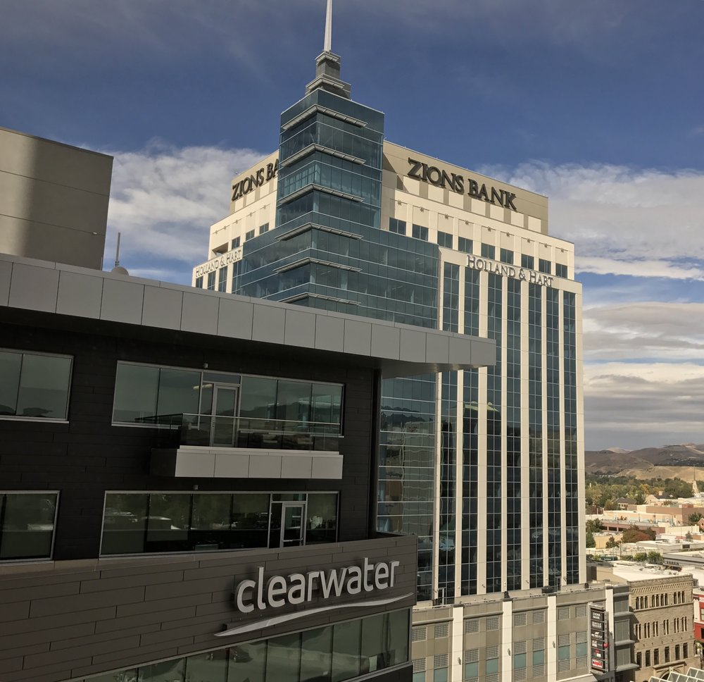 The 8th & Main and Clearwater buildings in Downtown Boise. Photo: Don Day/BoiseDev.com