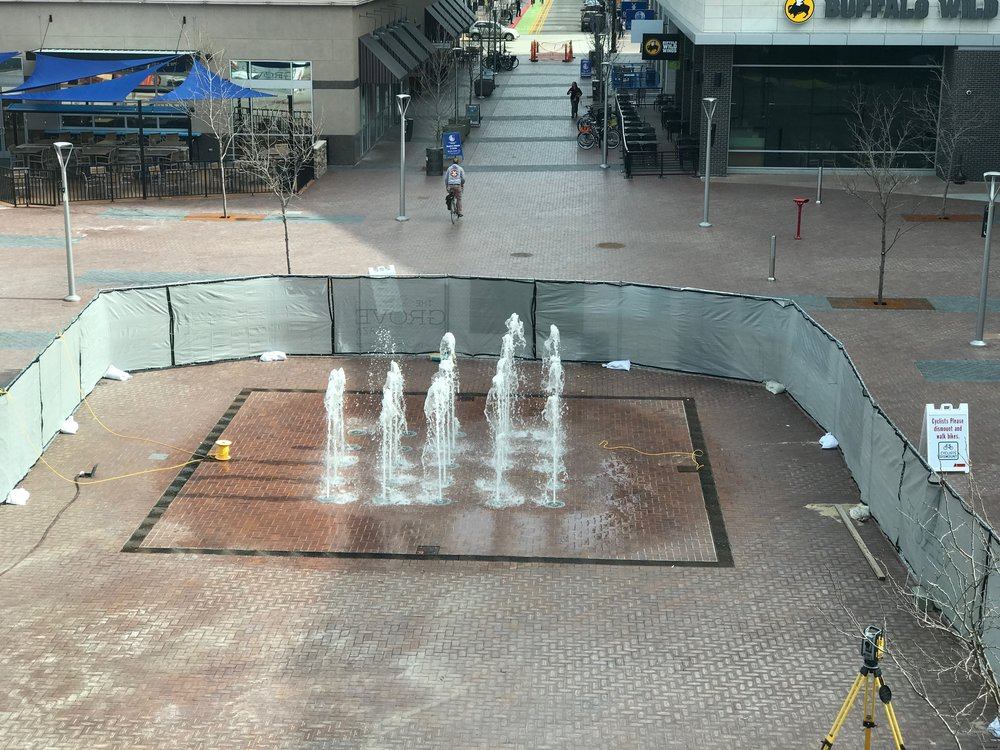 Fountain testing underway