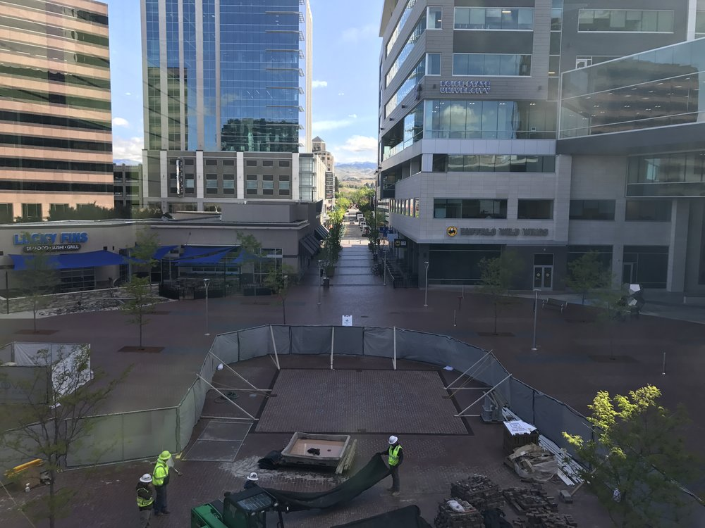 Boise's Grove Plaza framed by sunny skies Thursday morning. A permanent cloud - of the wi-fi variety - will soon be over the plaza.