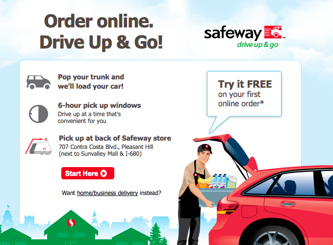 Screenshot of Drive Up & Go landing page from Safeway