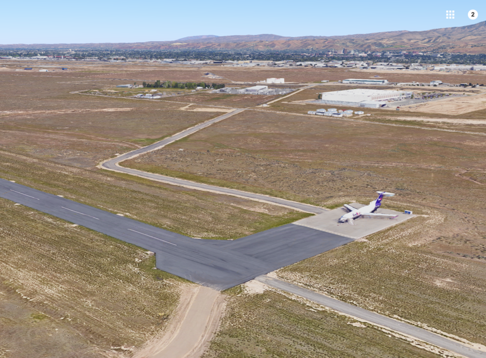 A corner of the current third runway south of Gowen Field, via Google Maps
