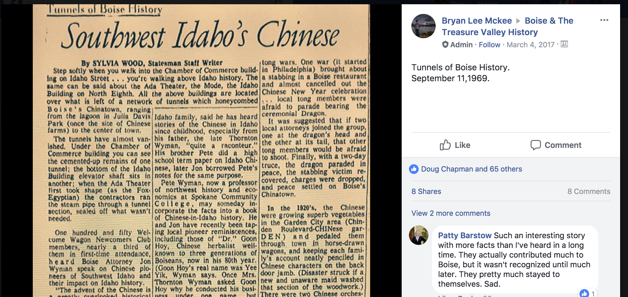 A  post  about tunnels in Boise with a clip from an old Idaho Statesman story
