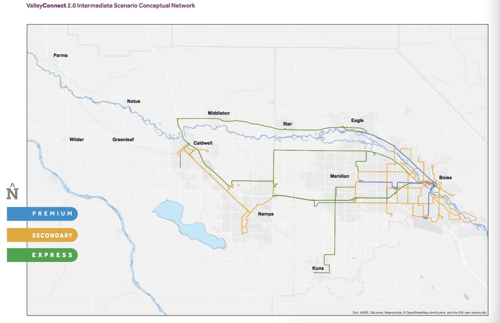 Map shows proposed Intermediate network. Via Valley Regional Transit. Click to enlarge.