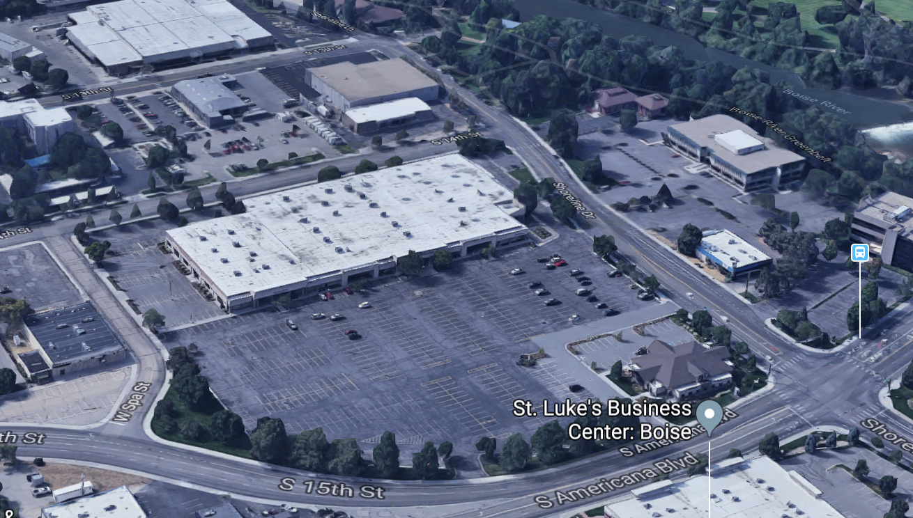 Google Earth view of the proposed stadium site. Summit Dental is located adjacent to the parcel but not part of the stadium project.