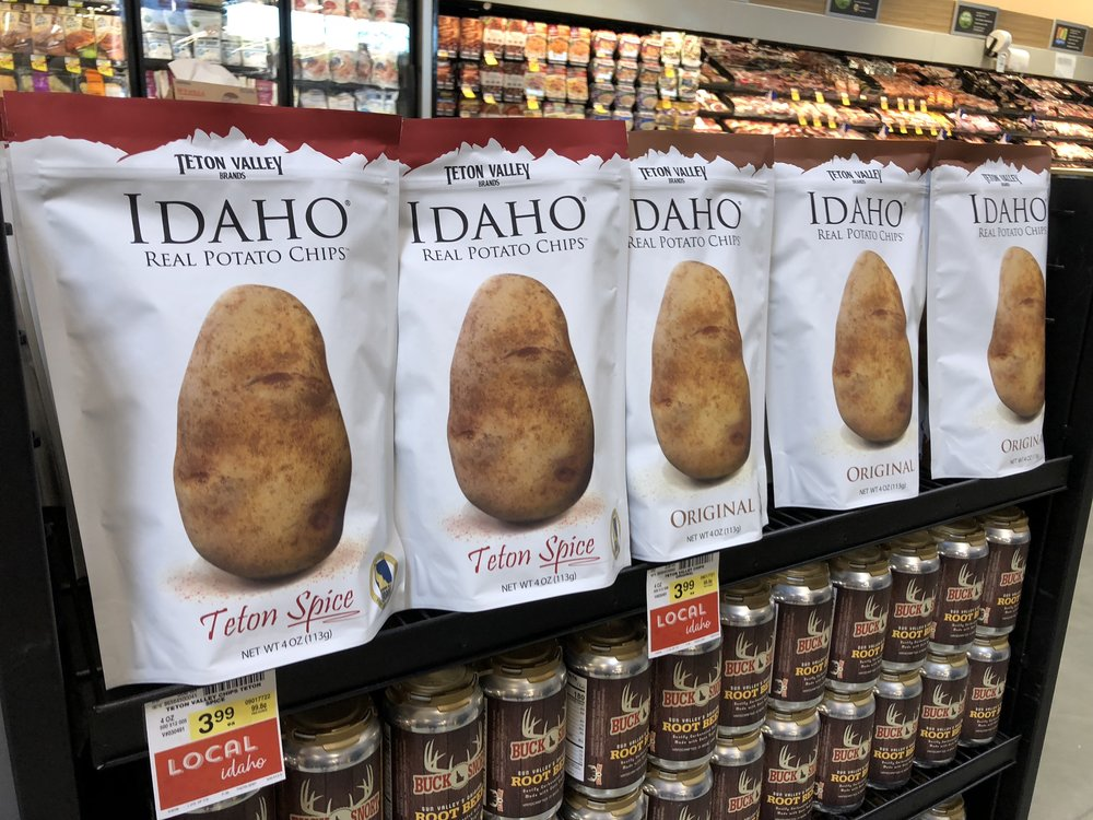 Local products include Teton Valley Beands chips and Bucksnort soda. Photo: Don Day/BoiseDev