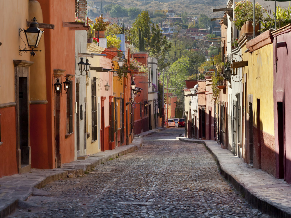 a typical charming street in San Miguel!
