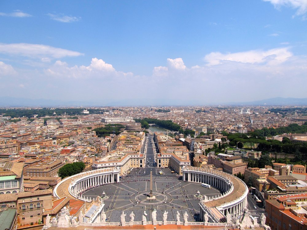The view of the Piazza of San Pietro from the top of the dome