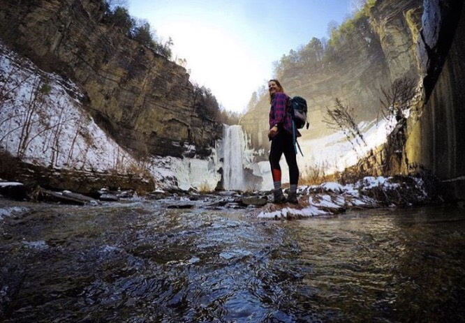 Ambassador Delaney exploring some awesome frozen falls! Follow her on instagram @delaneyforgette