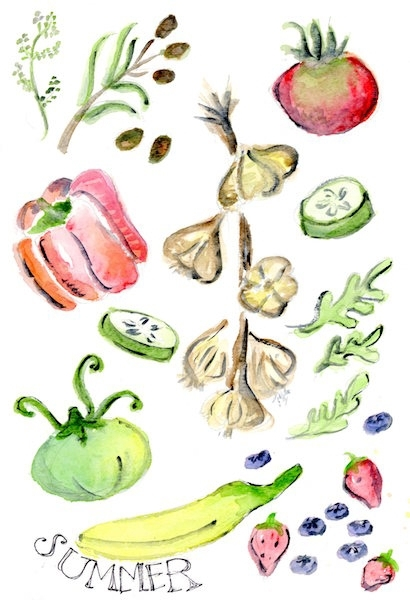 summer produce watercolor - show off your favorite seasonal summer fruits & veggies, perfect for your laptop or iPhone background