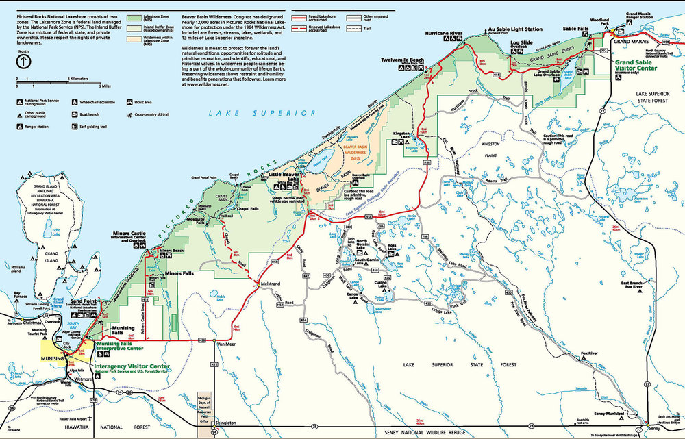 Map of Pictured Rocks National Lakeshore