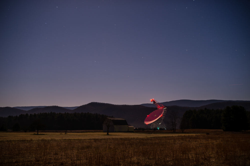The Green Bank Radio Telescope, approximately three hours before moonset observable from our position.