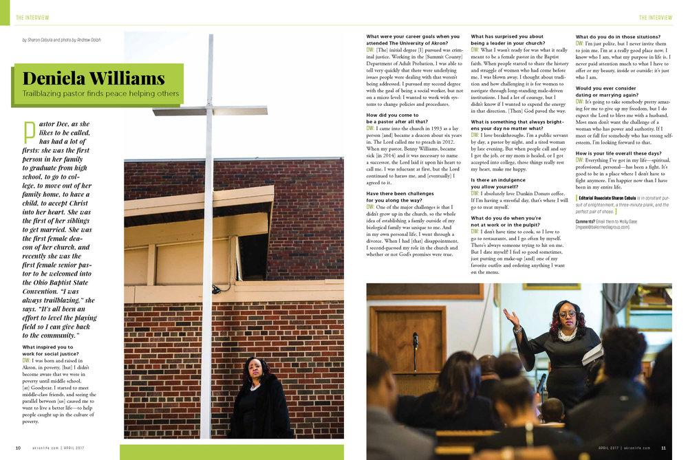 A personality profile on local trailblazing Pastor Deniela Williams