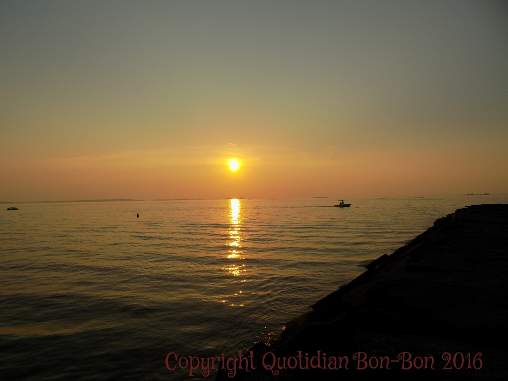 Golden Sunset on Lake Ontario with boat in distance, Westcott Beach, NY