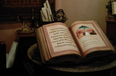 Disney's Aladdin book displayed in Epcot, Florida -from author's collection