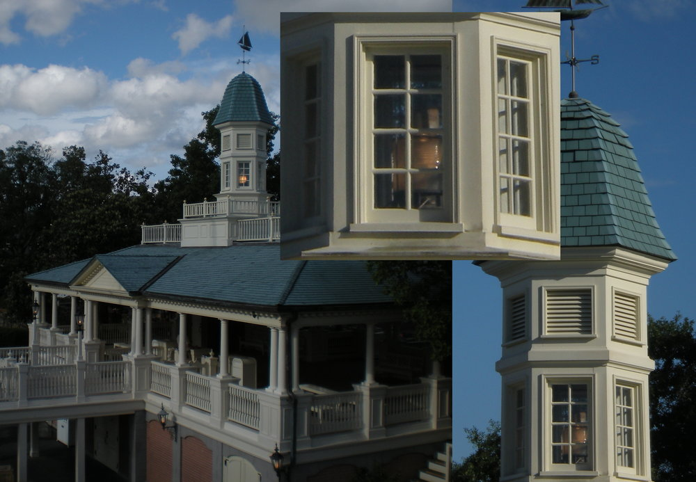 This is the Liberty Belle Riverboats at Liberty Square. A lot of people have noticed the light in the window, but I had always thought it was just an effect, set dressing. Nope. It's a working lighthouse!