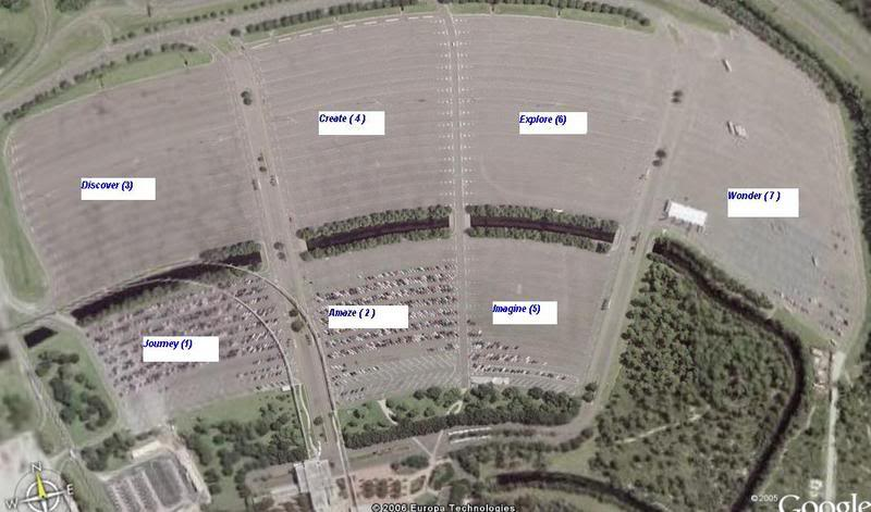 Someone labeled this Google Maps image with the names of the main Epcot parking lots. Turns out I didn't need that information, but the image is very similar to the one I studied for hours.