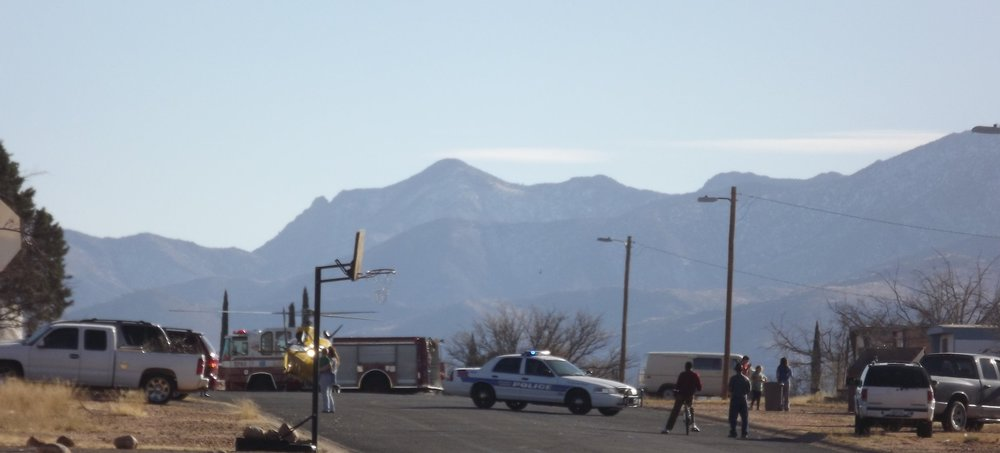 Police, fire, and medevac respond to an emergency at the trailer park, Sierra Vista, Arizona